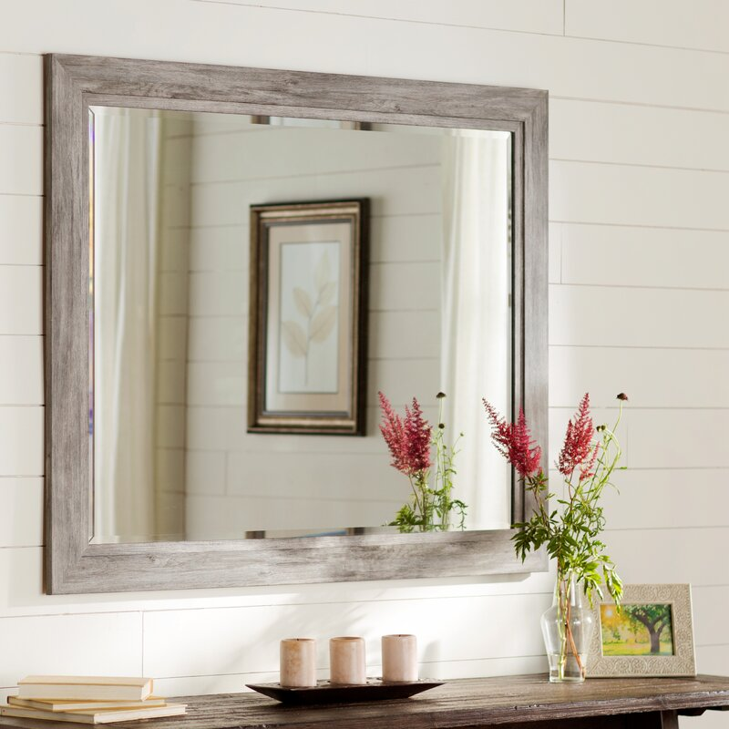 Long black wall mirror