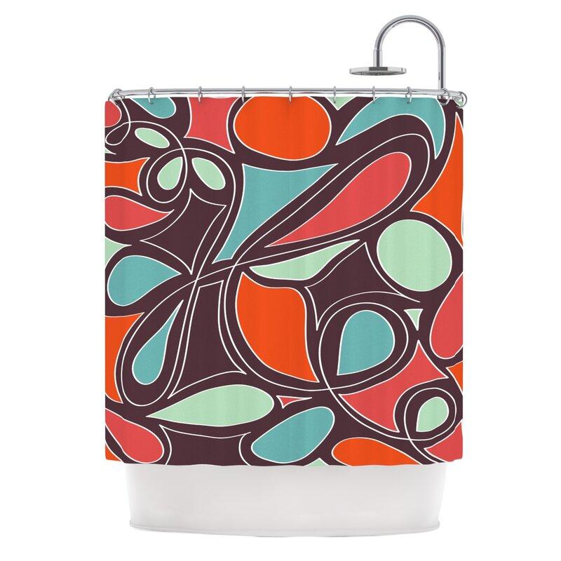 Creative bath dot swirl shower curtain