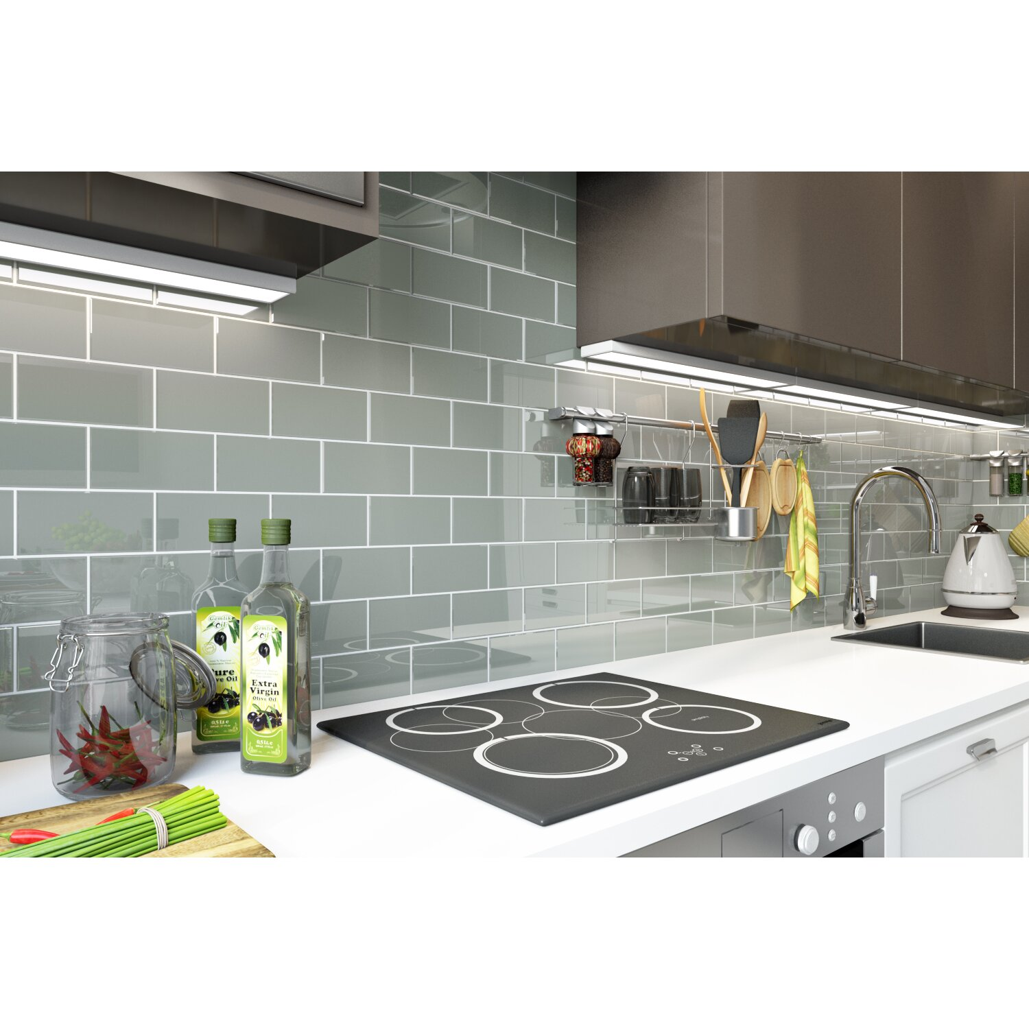 Subway tile grey