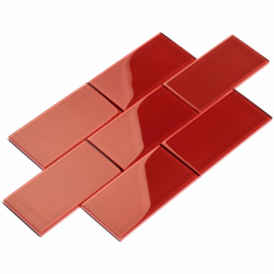 Red glass subway tile backsplash