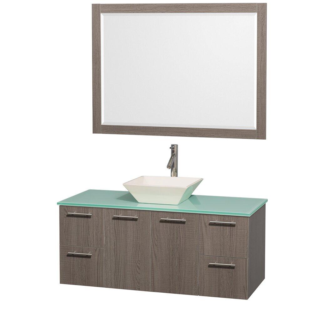 Single Gray Oak Bathroom Vanity Set With Mirror Reviews Wayfair