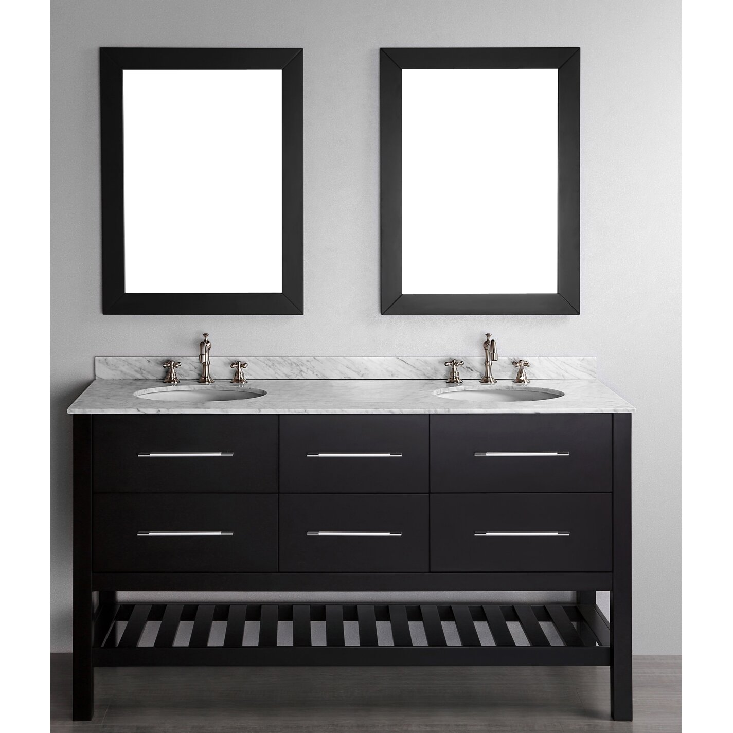Bosconi Contemporary  Double Bathroom Vanity Set With Mirror Reviews Wayfair