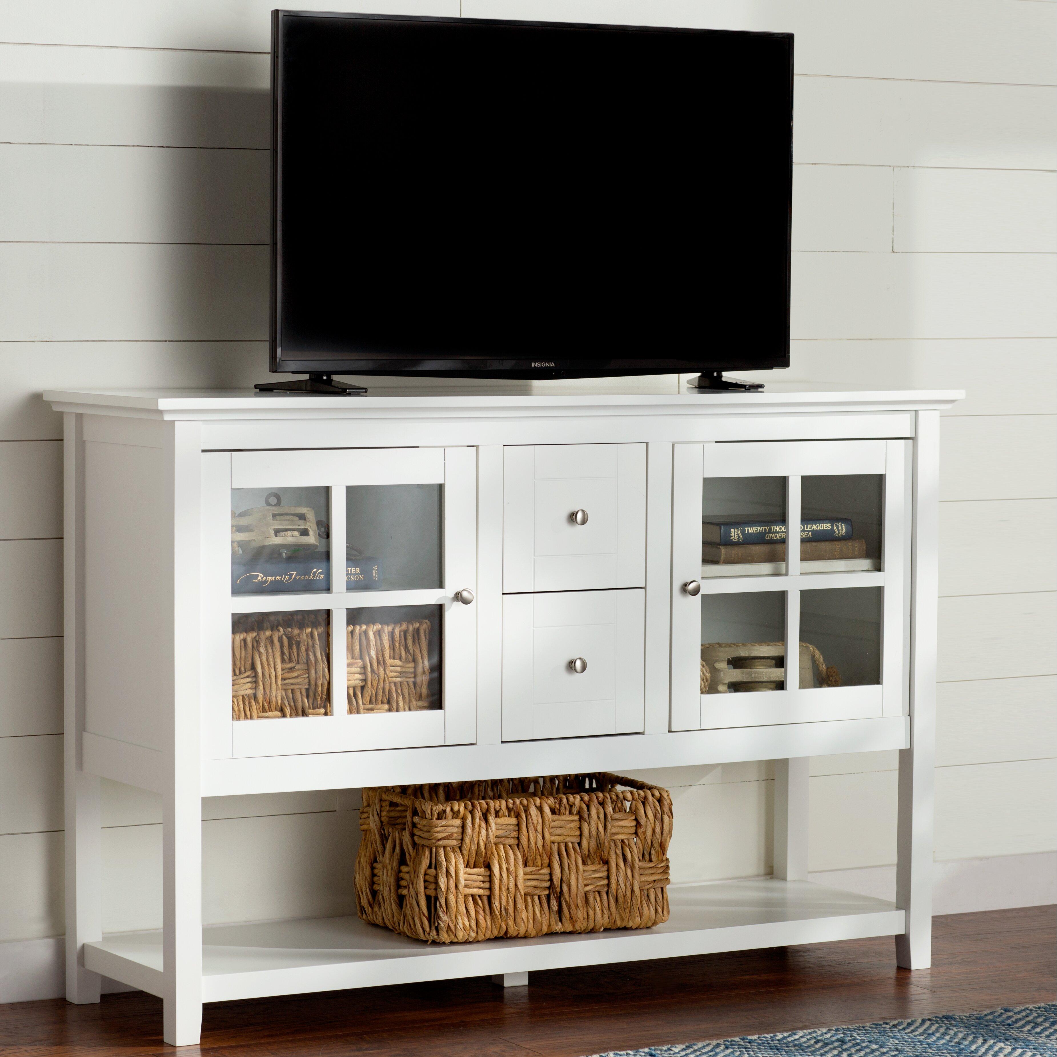 Antique white tv stand