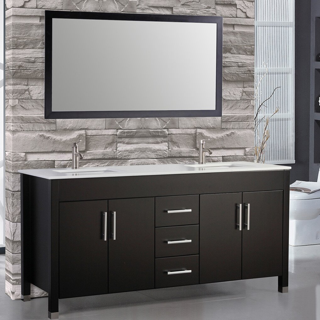 Mtdvanities Monaco   Double Sink Bathroom Vanity Set With Mirror