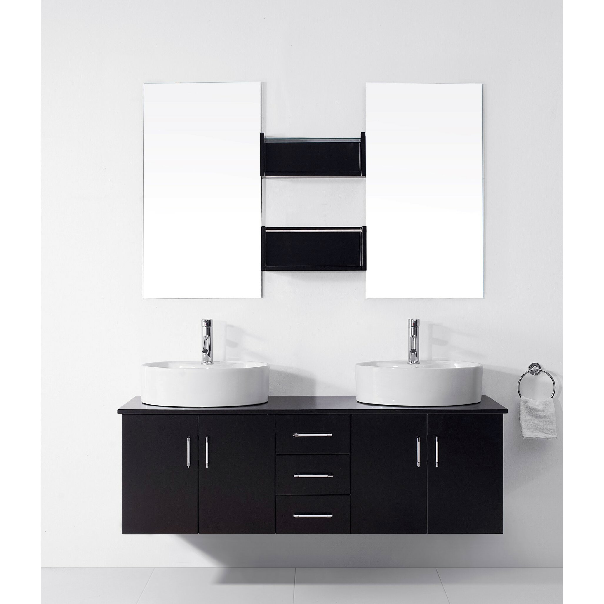 Virtu Enya   Uquot Double Bathroom Vanity Set With White Top