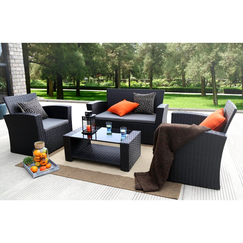 Edward 4 Piece Sofa Seating Group With Cushions