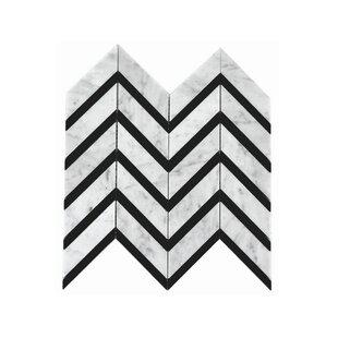 Celine Random Sized Marble Mosaic Tile In White Black