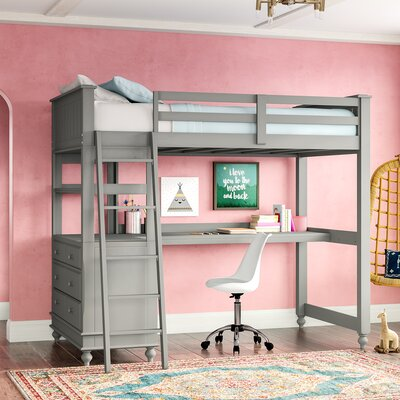 bunk beds loft beds with desks wayfair. Black Bedroom Furniture Sets. Home Design Ideas