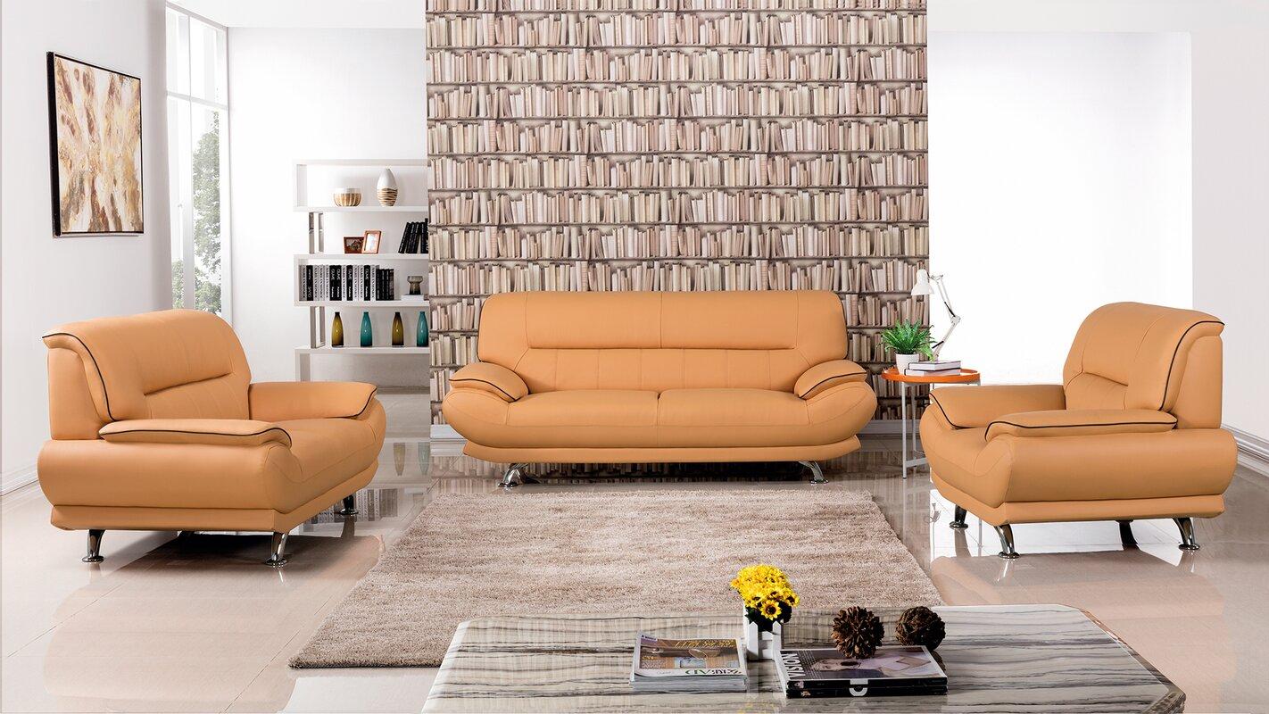 Default nameAmericanEagleInternationalTrading Arcadia 3 Piece Leather Living  . Orange Leather Living Room Set. Home Design Ideas