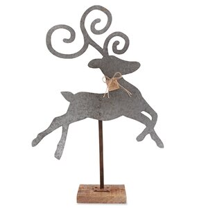 Tin Leaping Deer Table Sitter Figurine