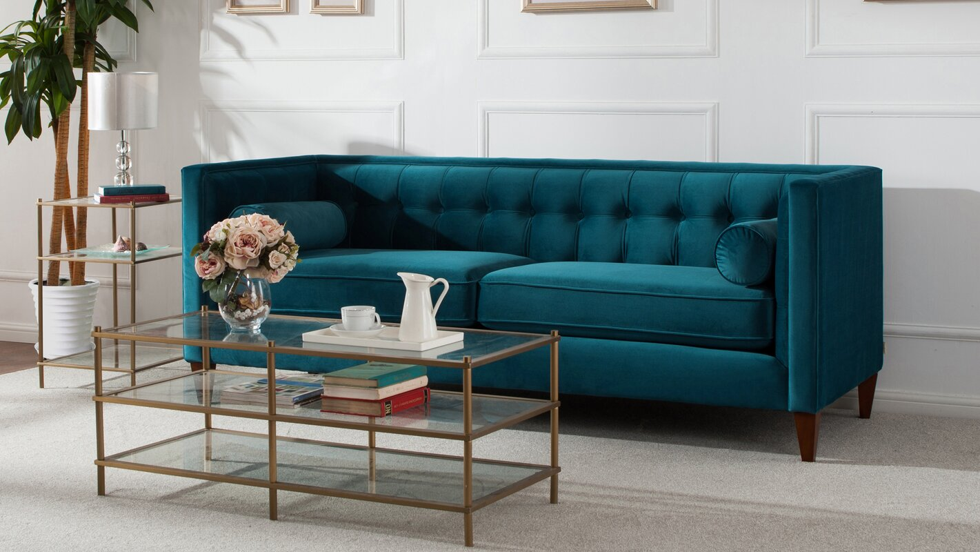 Open Concept Living Room Dining Room Kitchen Harcourt Tufted Chesterfield Sofa In Teal Amp Reviews