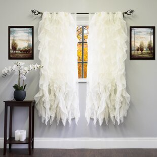 96 Inch White Ruffle Curtains