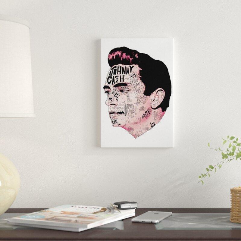 East Urban Home \'Johnny Cash\' Graphic Art Print on Canvas | Wayfair