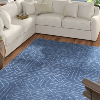 Wrought Studio Watts Hand-Tufted Bright Blue Area Rug Rug Size: Rectangle 2' x 3'