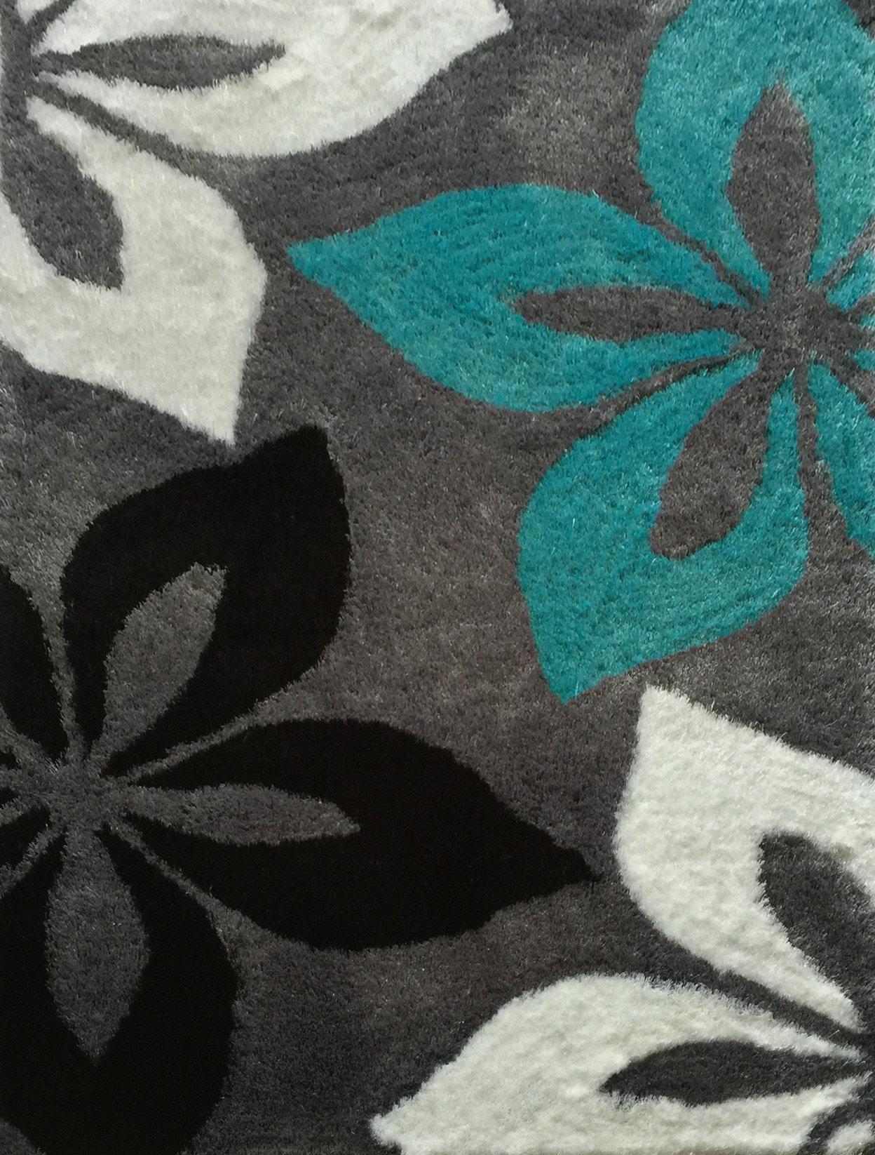 Rug Factory Plus Lola Hand-Tufted Gray/Turquoise Area Rug | Wayfair