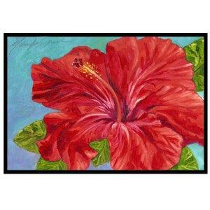 Red Hibiscus Doormat