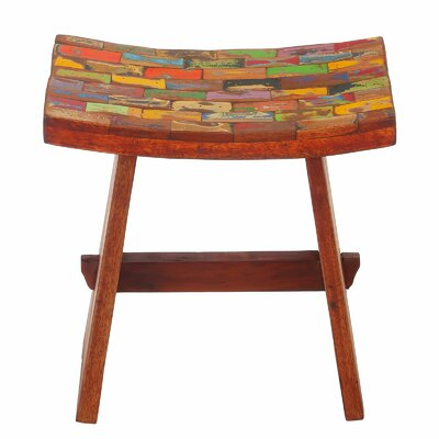 Sinead Reclaimed Wood Accent Stool Bloomsbury Market