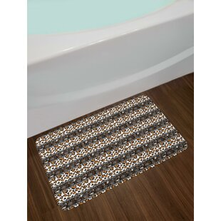 Incroyable Traditional Borders Cheetah Skin With Abstract Spirals And Circles Bath Rug