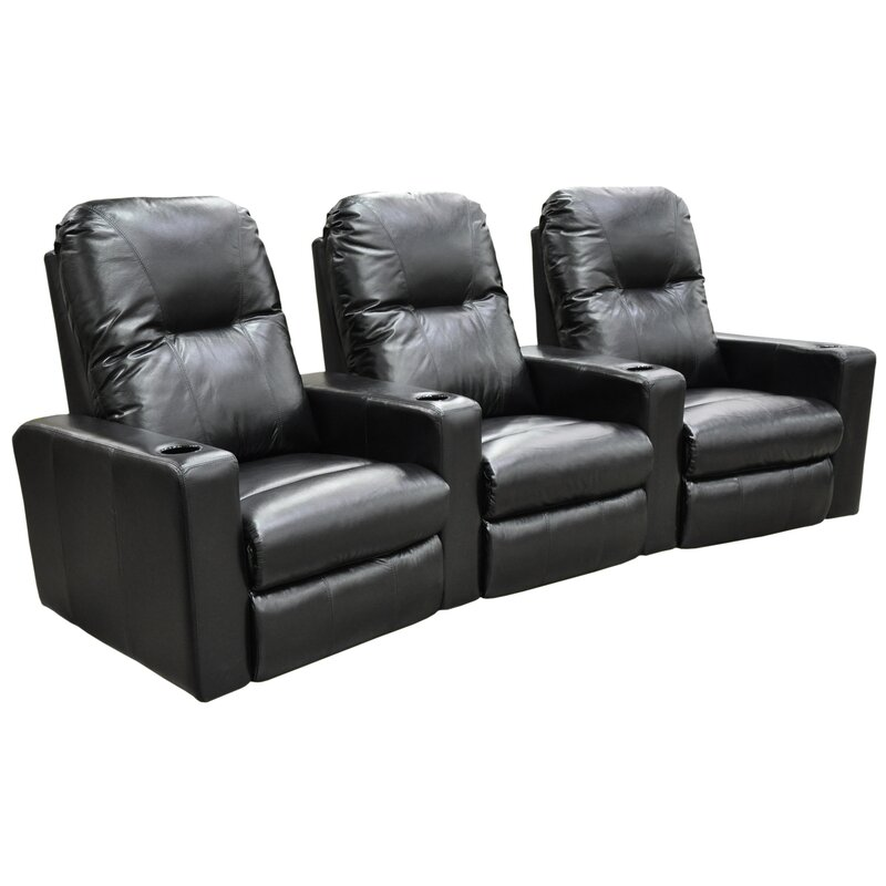 omnia leather portland home theater seating row of 3 wayfair