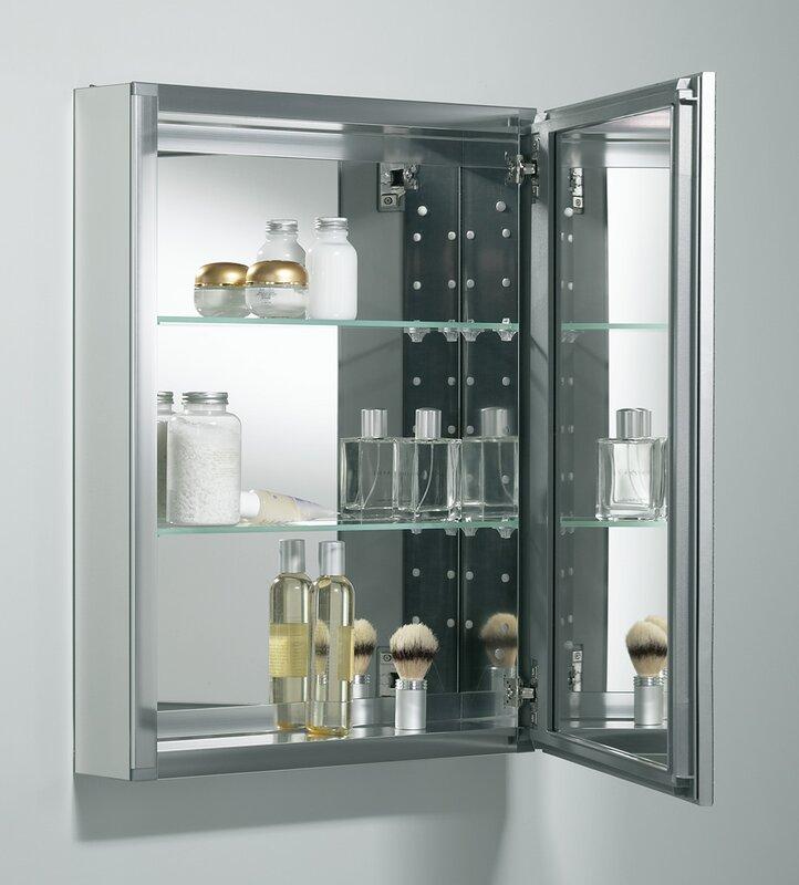 Kohler 20 x 26 aluminum mirrored medicine cabinet for Bathroom medicine cabinets 14 x 18