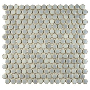 Penny 0 8 X Porcelain Mosaic Tile In Glossy Gray