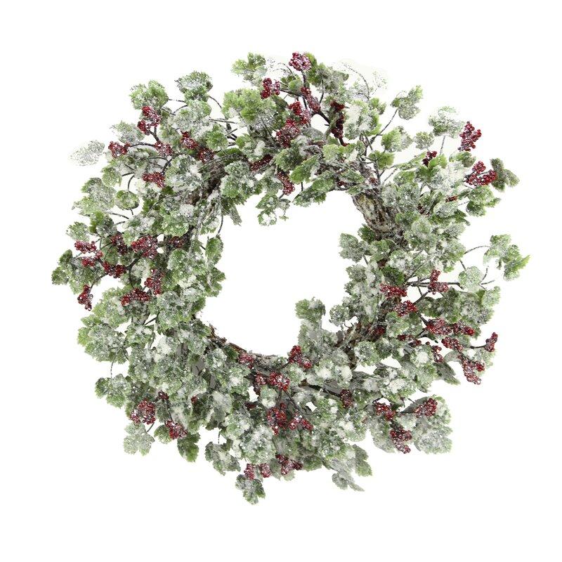 charlton home snow ivy berry 22 plastic wreath reviews wayfair