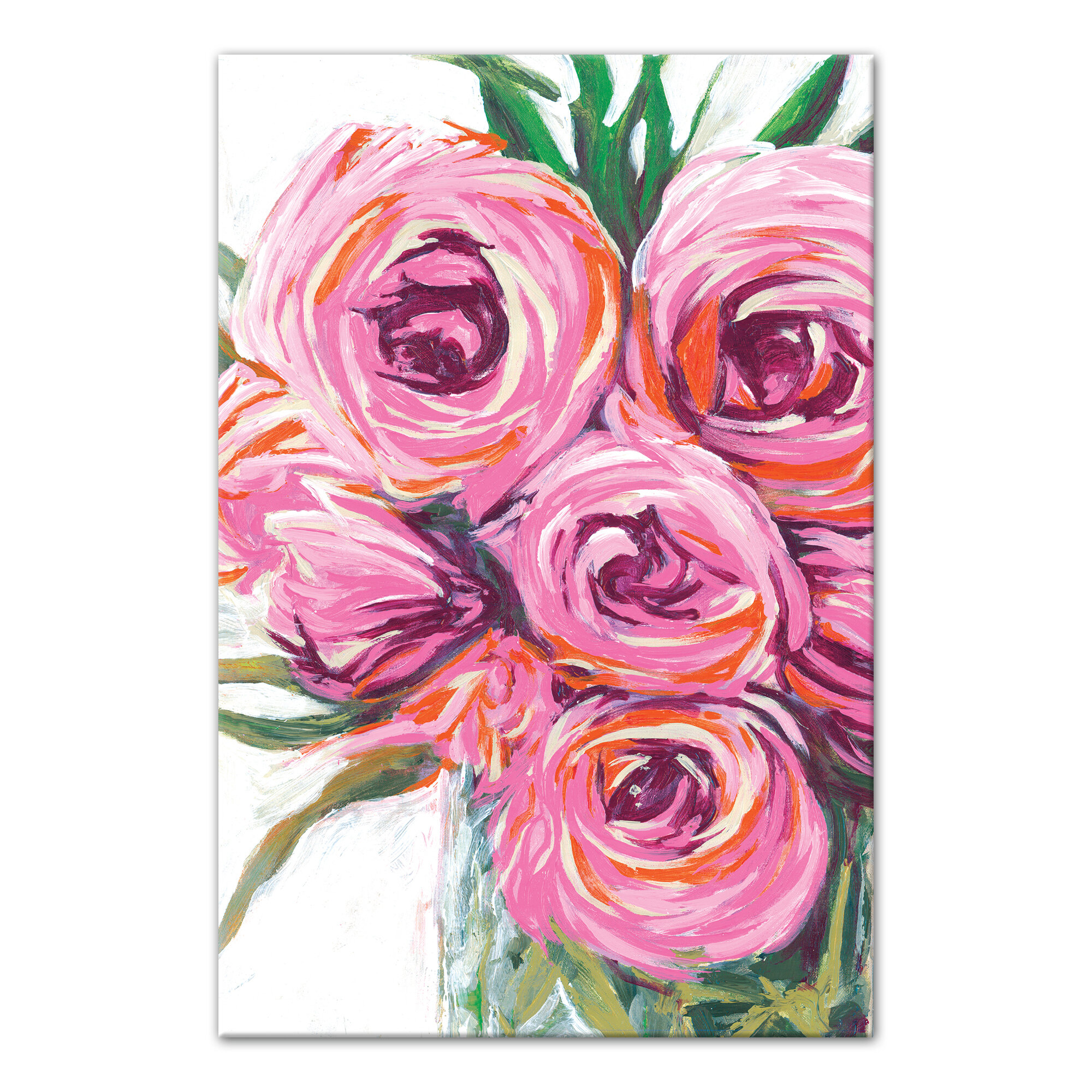 Vase with bright flowers acrylic painting print on canvas