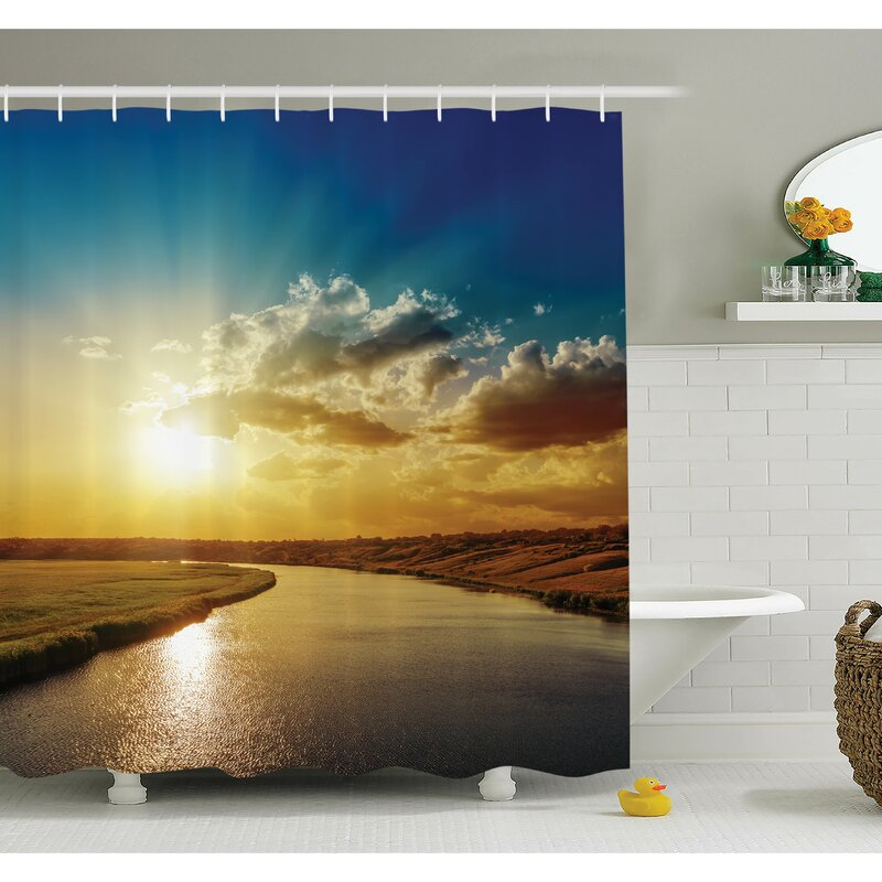 Ambesonne Nature Dreamy Sunset On River Shower Curtain Set