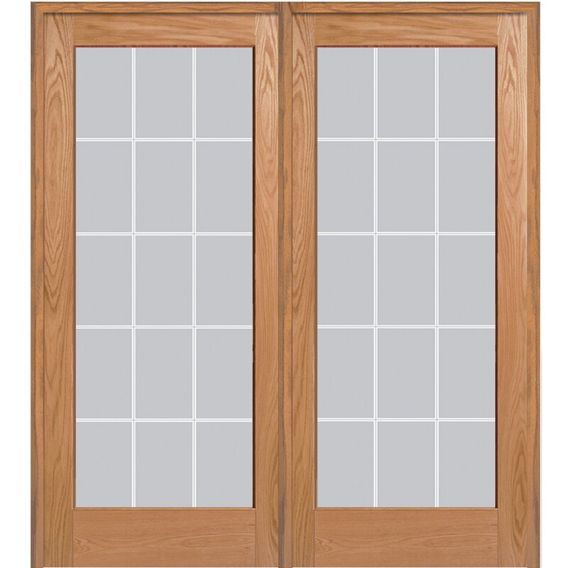 Verona Home Design Wood 2 Panel Red Oak Interior French Door Wayfair