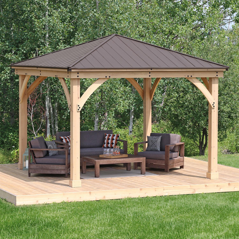 Construction Pergola Bois Plan meridian 12 ft. w x 12 ft. d solid wood patio gazebo