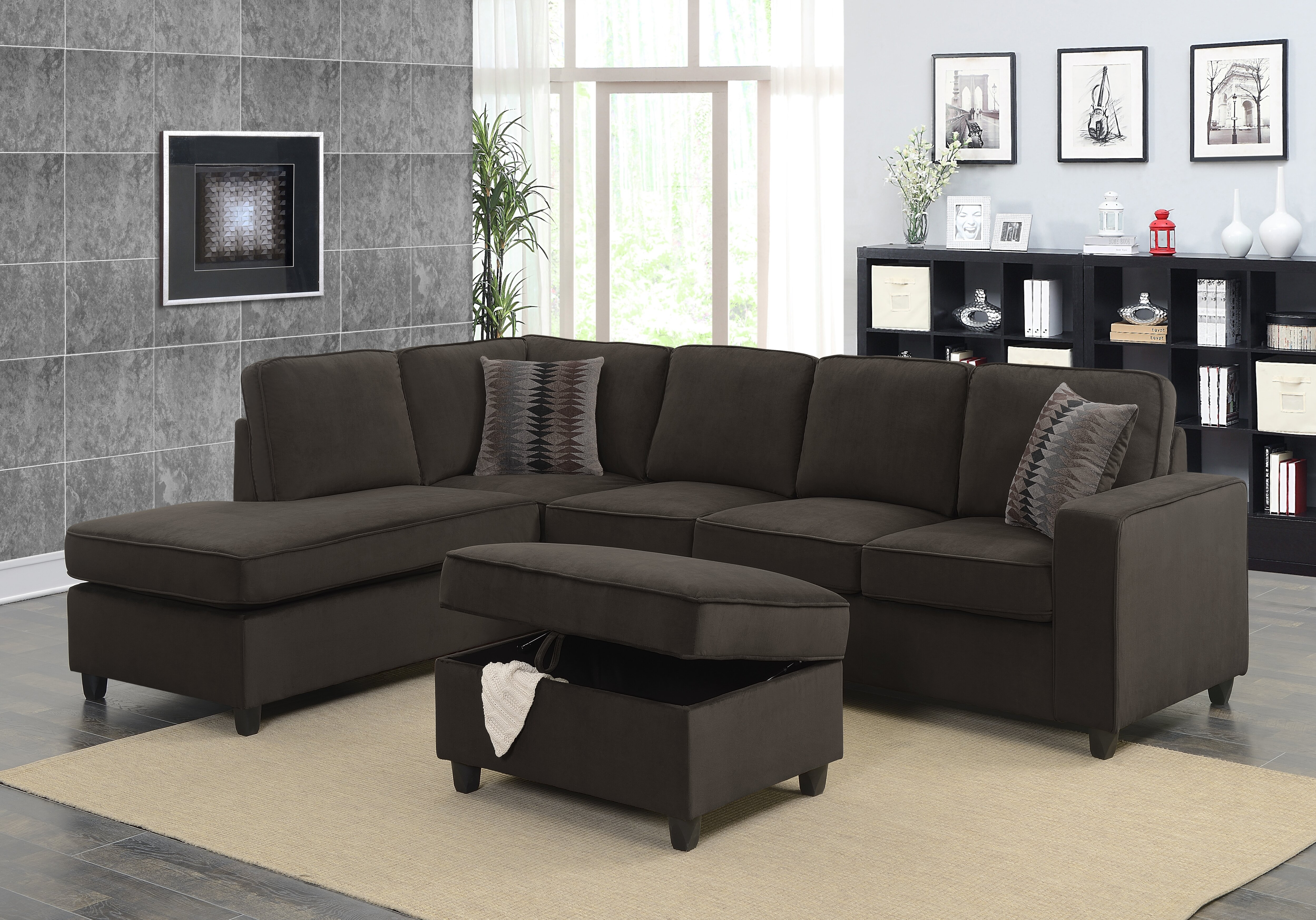 Zipcode design barksdale reversible sectional with ottoman reviews wayfair