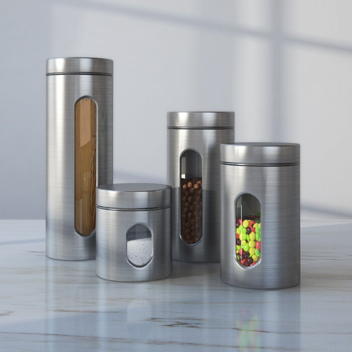 Wayfair Basics 4 Piece Stainless Steel Kitchen Canister Set