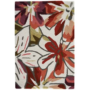 Mindy Hand-Hooked Ivory/Red Area Rug
