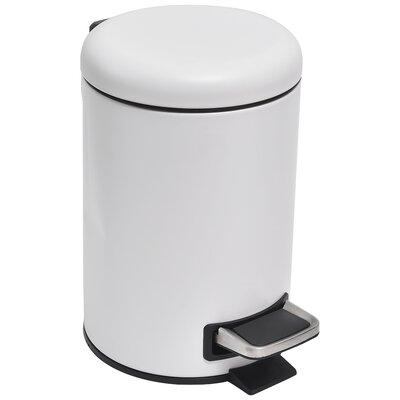 Soft Close Small Round Bathroom Floor 0.8 Gallon Step On Trash Can