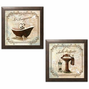 U0027Classic Prints For Decorating Bathroom; Salle De Bain And Le Baignoireu0027  Acrylic Painting Print Set (Set Of 2)