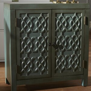 Ellzey Antiqued Quatrefoil 2 Door Accent Cabinet