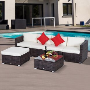 Exclusive Barnett 6 Piece Rattan Sectional Set with Cushions Sol 72 Outdoor