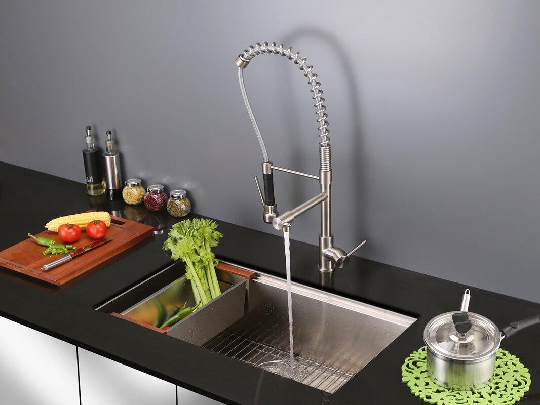 ruvati alori single handle kitchen faucet with pre rinse spray