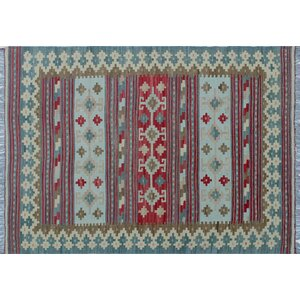 Cortez Kilim Hand-Woven Rectangle Rust Area Rug