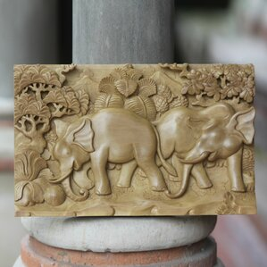 elephant soccer three dimensional hand carved wood panel wall dcor