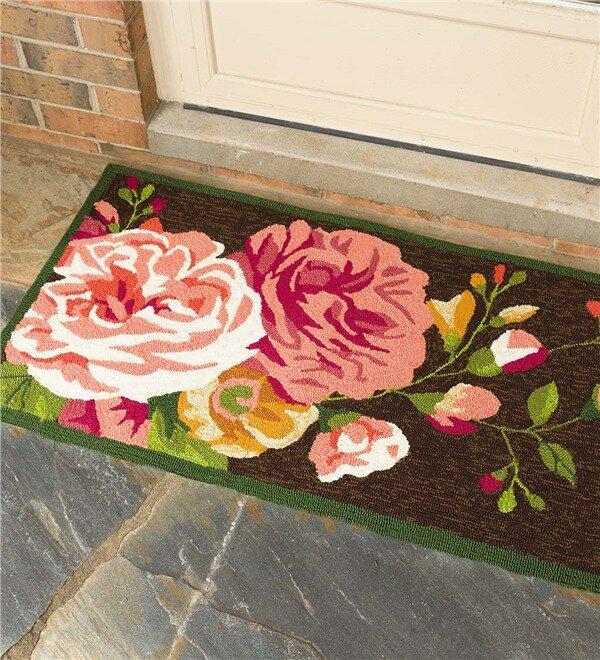 Plow Hearth Peonies Hand Hooked Pink Chocolate Indoor Outdoor Area
