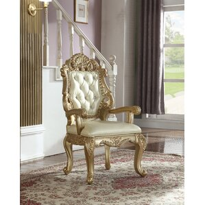 Bachus Tufted Genuine Leather Upholstered Dining Chair by Astoria Grand