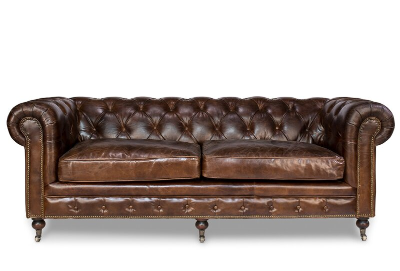 Castered Leather Chesterfield Sofa