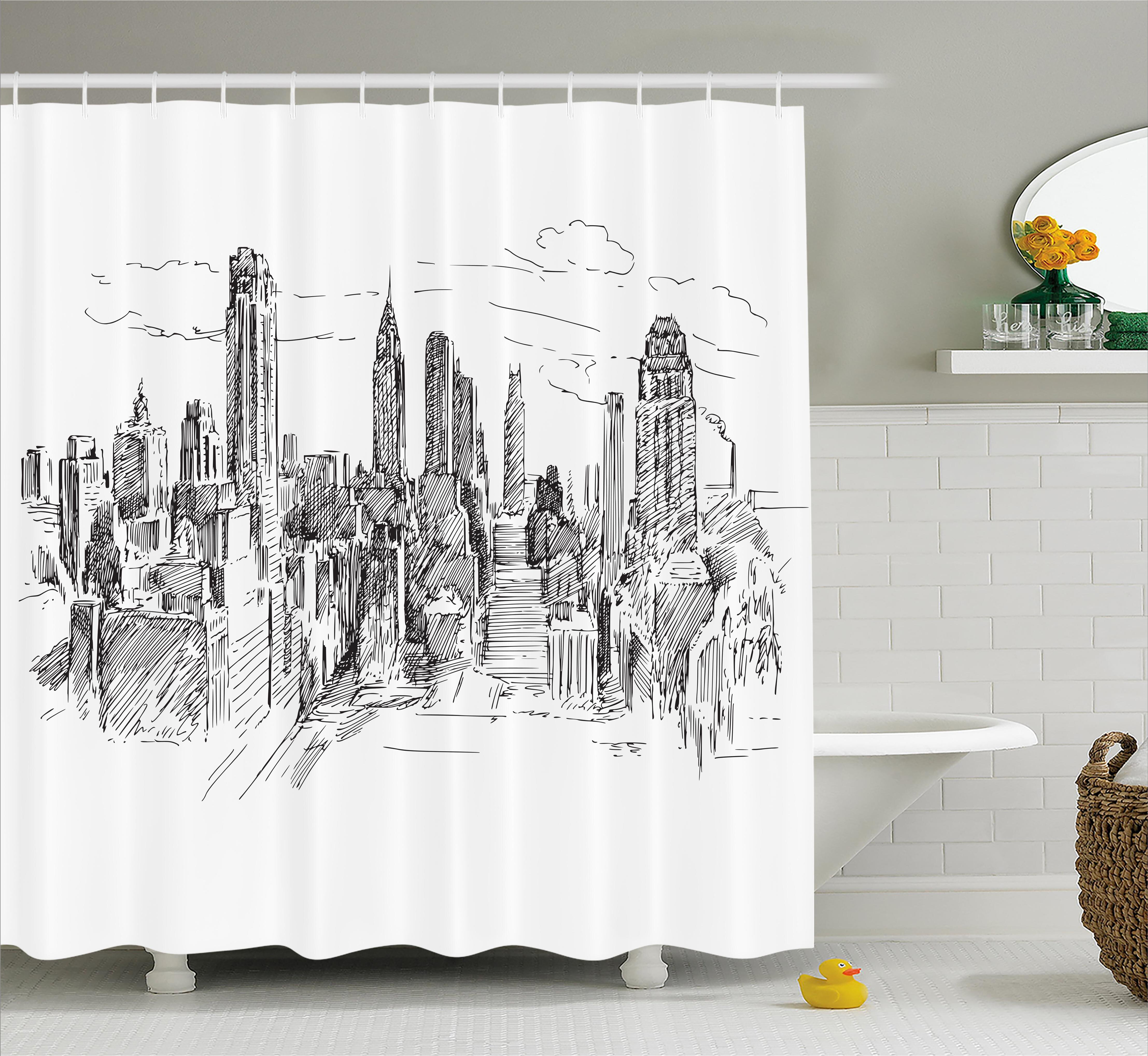 Ebern Designs Blondelle Sketchy NYC Cityscape Shower Curtain