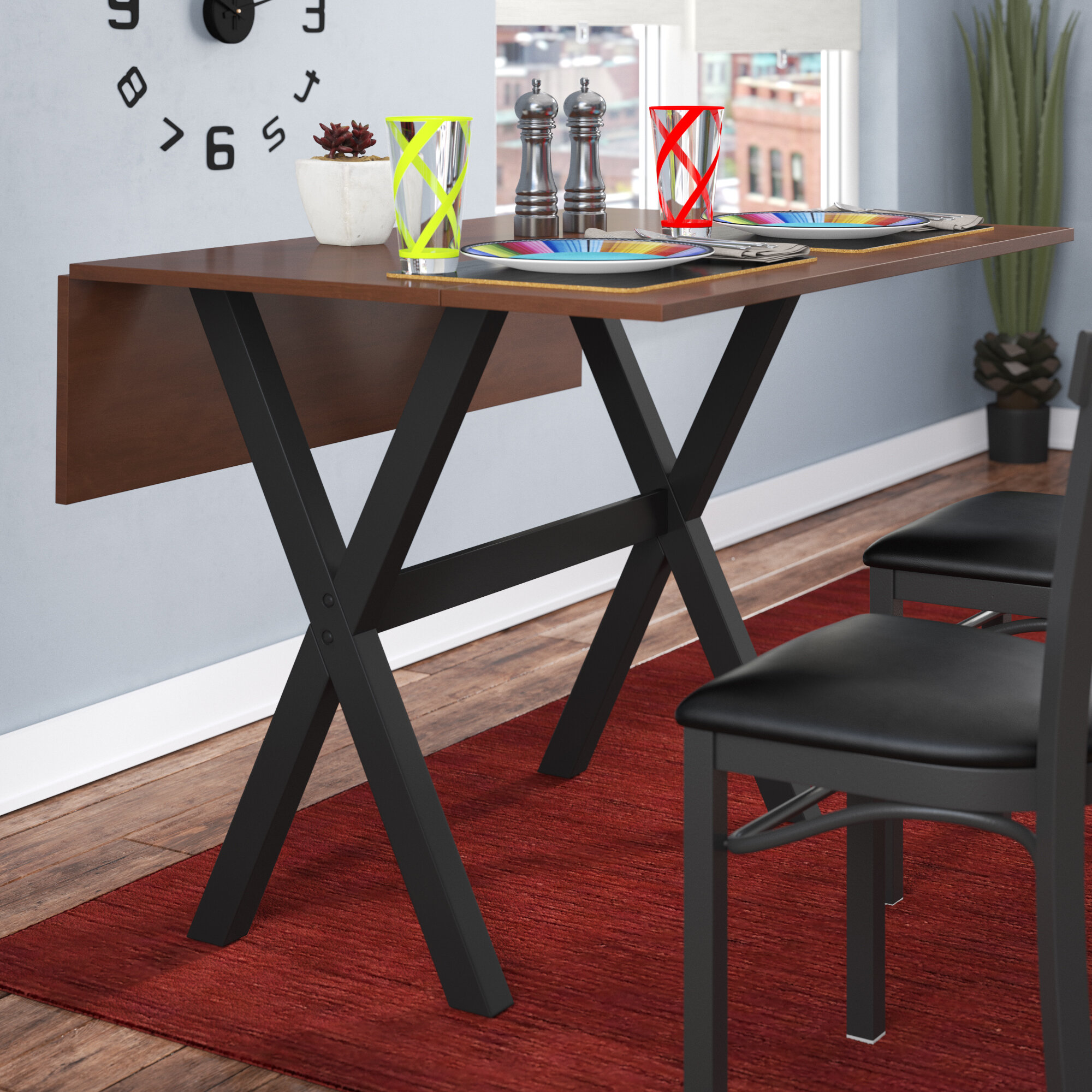 Latitude Run Warthen Solid Wood Extendable Drop Leaf Dining Table