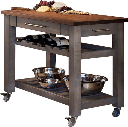 Regner Mobile Kitchen Island With Solid Walnut Top & Reviews