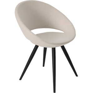Crescent Star Genuine Leather Upholstered Dining Chair in Black Genuine Leather by sohoConcept