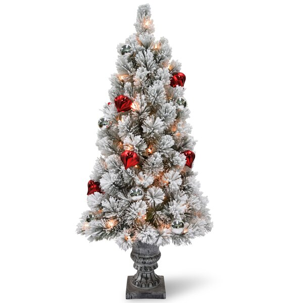 the holiday aisle snowy bristle tabletop 2 whitegreen pine trees artificial christmas tree with 35 led clearwhite lights reviews wayfair - Battery Operated Christmas Tree