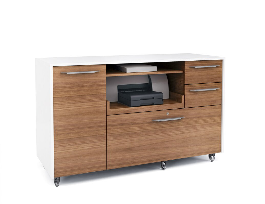Bdi usa format 2 drawer mobile credenza reviews wayfair - Mobile credenza ...