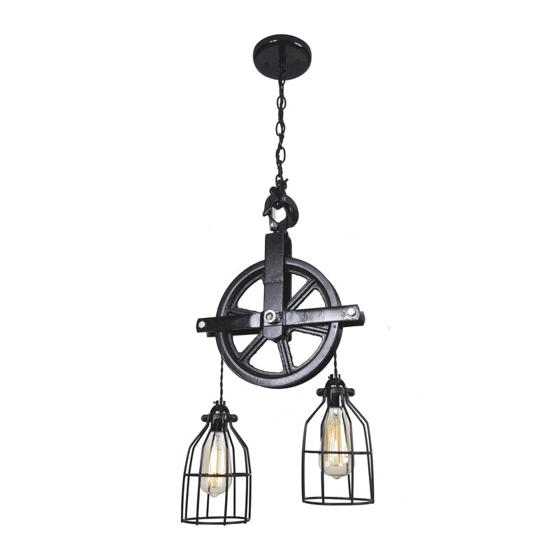 Barn Pulley 2 Light Cascade Pendant